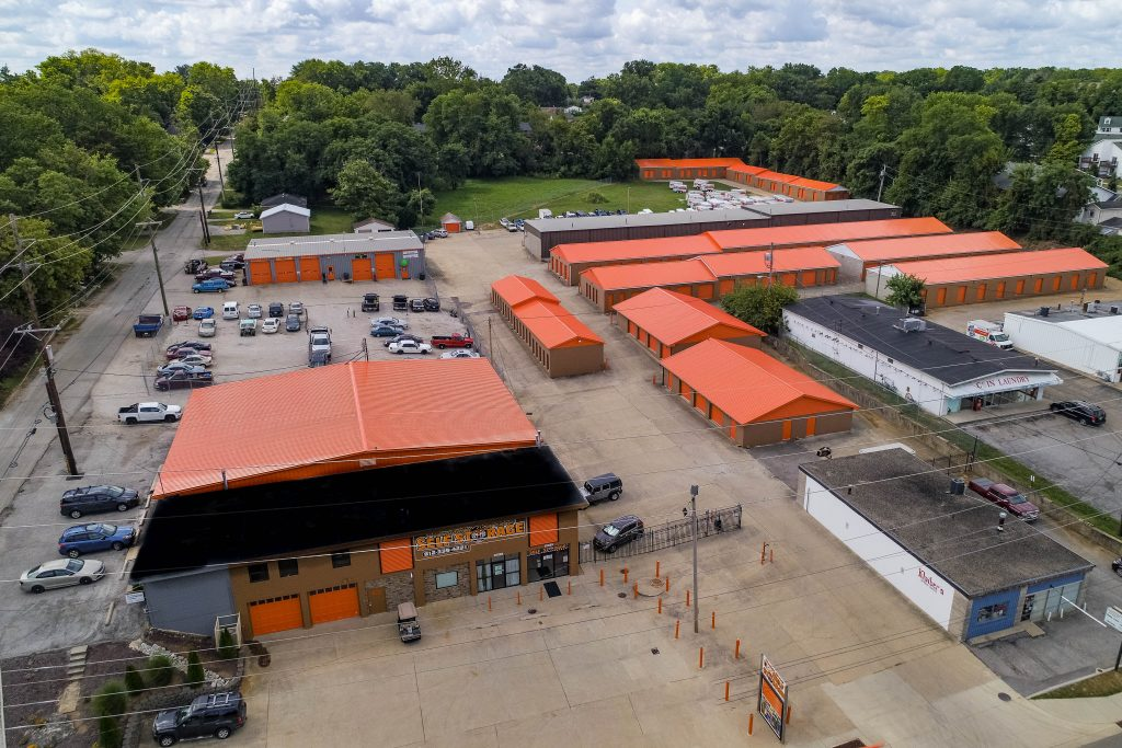Front Aerial view of Bloomington Affordable Self Storage
