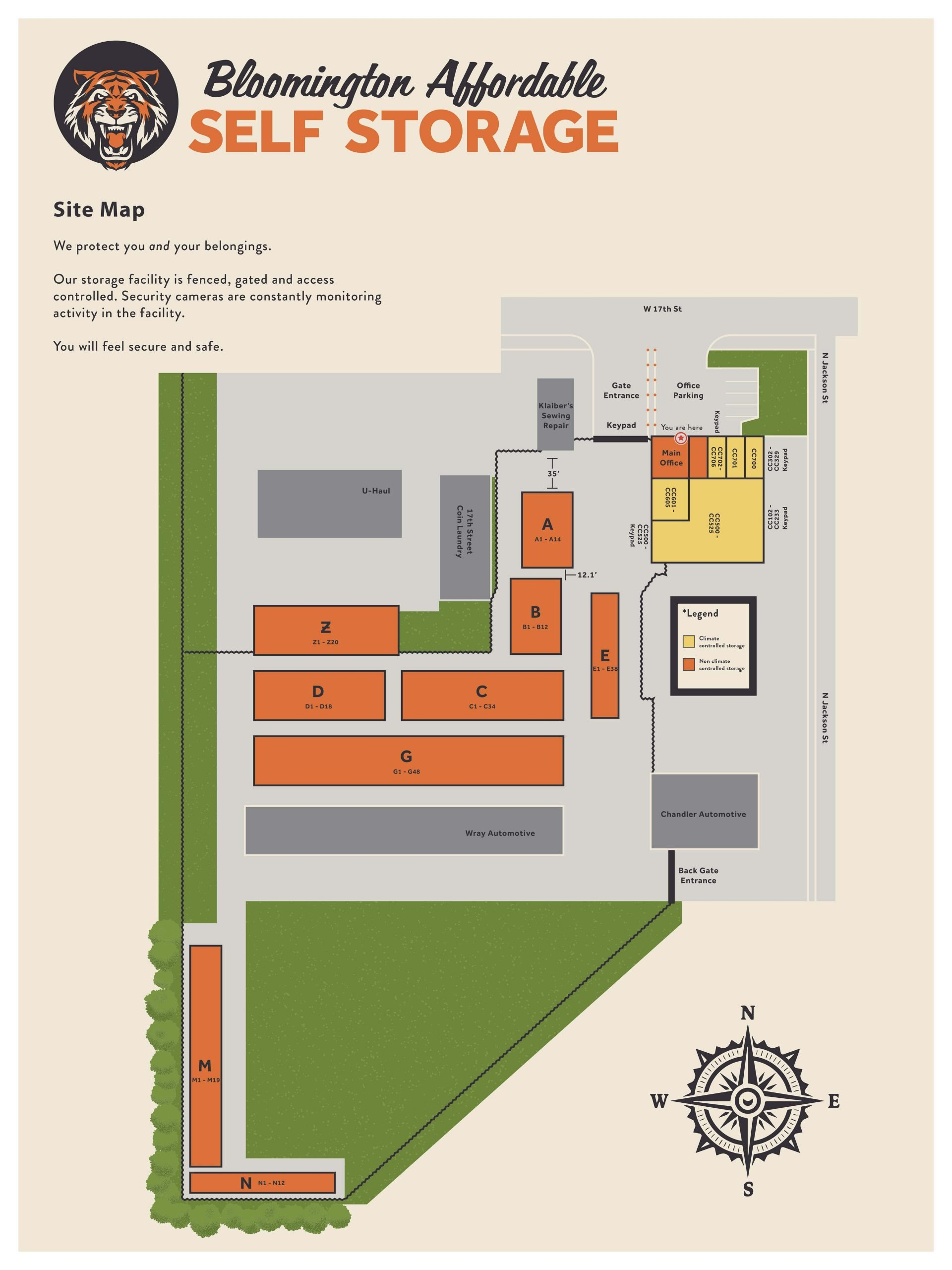Sitemap for Bloomington Affordable Self Storage - Jackson Street Location