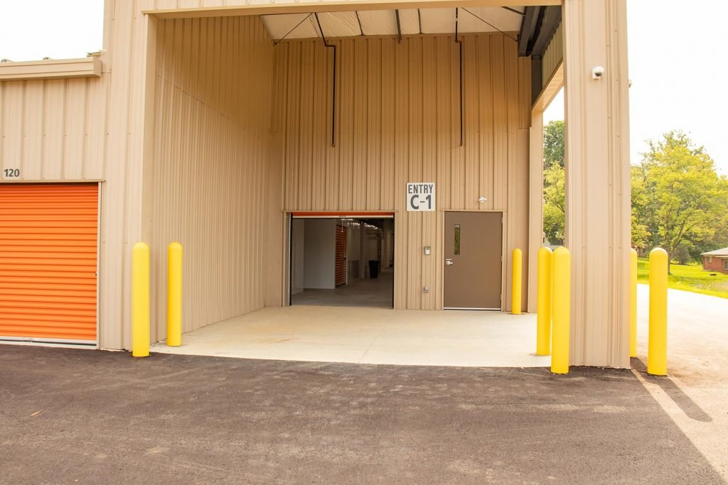 Corner entrance of storage facility